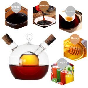 2-in-1 High Borosilicate Glass Caster Two Mouth Oil Vinegar Bottles Soy Sauce Bottle Oil Vinegar Cruet
